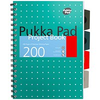 Pukka Pad Metallic Project Book, B5, Ruled & Perforated, 200 Pages, Green, Pack of 3