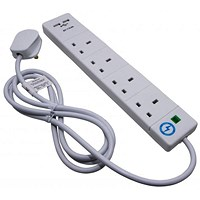 SMJ 4-Way Extension Lead, 2 USB Charging Points, Power Surge Indicator, 2m, White