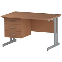 Trexus 1200mm Rectangular Desk, Silver Legs, 3 Drawer Pedestal, Beech