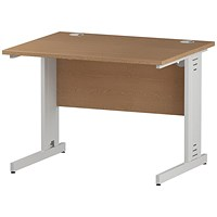 Trexus 1000mm Rectangular Desk, Cable Managed White Legs, Oak