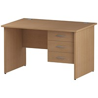 Trexus 1200mm Rectangular Desk, Panel Legs, 3 Drawer Pedestal, Oak