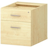 Trexus Fixed 2 Drawer Pedestal, Maple