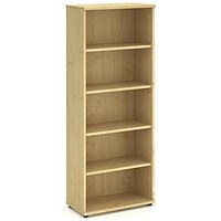 Trexus Tall Bookcase, 4 Shelves, 2000mm High, Maple