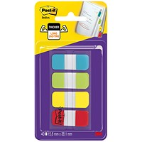 Post-it Small Index Flags Repositionable Tabs, Assorted Colours, 40 Flags