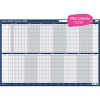 Sasco 2020 Staff Planner, Mounted, 915x610mm