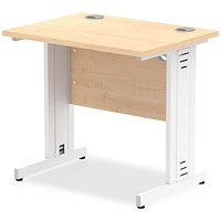 Trexus 800mm Slim Rectangular Desk, Cable Managed White Legs, Maple