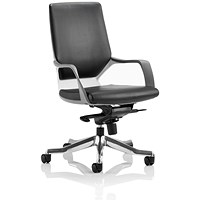 Adroit Xenon Medium Back Executive Chair, White Shell, Black Leather