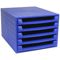 Exacompta Forever Desktop 5 Drawer Set, A4+, Recycled Plastic, Blue