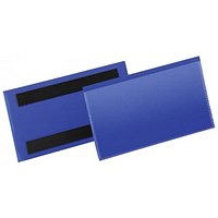 Durable Magnetic Document Sleeves / 150x67mm / Blue / Pack of 50