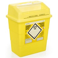 Click Medical Sharps Bin, Temporary & Final Closure Feature, 13 Litre, Yellow