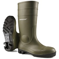Dunlop Protomaster Safety Wellington Boots, Steel Toe Cap, Size 10.5, Olive Green