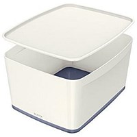 Leitz MyBox Plastic Storage Box with Lid, Large, White & Grey