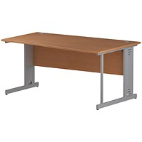 Trexus 1600mm Wave Desk, Right Hand, Cable Managed Silver Legs, Beech