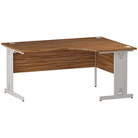 Trexus 1600mm Corner Desk, Right Hand, Cable Managed White Legs, Walnut