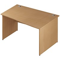 Trexus 1400mm Wave Desk, Right Hand, Panel Legs, Oak