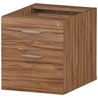 Trexus Fixed 2 Drawer Pedestal, Walnut