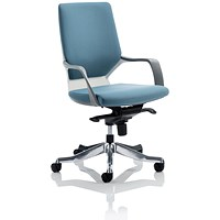 Adroit Xenon Medium Back Executive Chair, White Shell, Blue Fabric