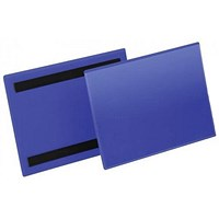 Durable Magnetic Document Sleeves, A5, Landscape, Blue, Pack of 50