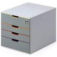 Durable Varicolor Safe 4 Drawer Box with Lockable Top Drawer Grey