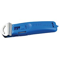 Pacific Handy Cutter Guarded Spring Back Safety Cutter, Ambidextrous, Blue