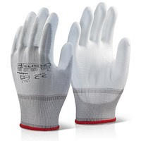 Click 2000 Pu Coated Gloves, Large, White, Pack of 100