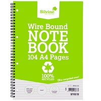 Silvine Recycled Wirebound Notebook, A4, Punched, Ruled, 104 Pages, Pack of 12