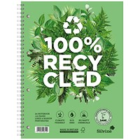 Silvine Premium Recycled Wirebound Notebook, A4+, Ruled & Perforated, Punched, 120 Pages, Pack of 5