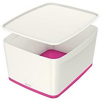 Leitz MyBox Plastic Storage Box with Lid, Large, White & Pink