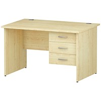 Trexus 1200mm Rectangular Desk, Panel Legs, 3 Drawer Pedestal, Maple