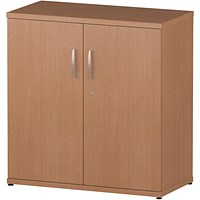 Trexus Low Office Cupboard, 1 Shelf, 800mm High, Beech