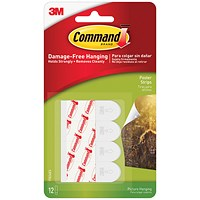 3M Command Adhesive Poster Strips, Clean Removal, 0.45kg Holding Capacity, Pack of 12
