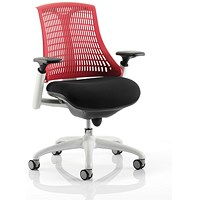 Trexus Flex Task Operator Chair, Black Seat, Red Back, White Frame