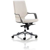 Adroit Xenon Medium Back Executive Chair, White Shell, White Leather
