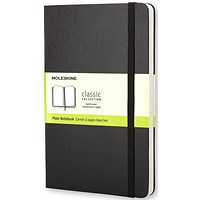 Moleskine Notebook, Hard Cover, A5, Plain, 240 Pages, Black