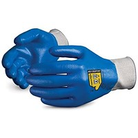 Superior Glove Superior Touch Gloves, Fully Nitrile Coated, Medium, Blue