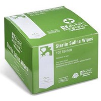 Click Medical Sterile Saline Wipes, Individually Wrapped, Pack of 100