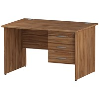 Trexus 1200mm Rectangular Desk, Panel Legs, 3 Drawer Pedestal, Walnut