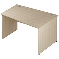 Trexus 1400mm Wave Desk, Right Hand, Panel Legs, Maple