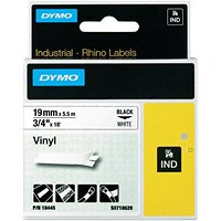 Dymo RhinoPRO Industrial Tape 1500WT Coloured Vinyl 19mm White Ref 18445 S0718620
