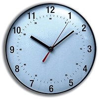 5 Star Wall Clock Diameter 250mm with White Face & Black Case
