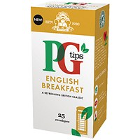 PG Tips English Breakfast Tea Bags - Pack of 25