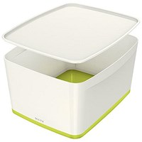 Leitz MyBox Plastic Storage Box with Lid, Large, White & Green