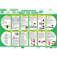 Wallace Cameron Workplace First-Aid Guide Poster Laminated Wall-mountable W840xH590mm