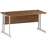 Trexus 1600mm Wave Desk, Left Hand, White Legs, Walnut