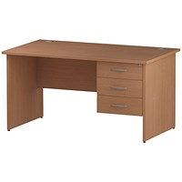 Trexus 1400mm Rectangular Desk, Panel Legs, 3 Drawer Pedestal, Beech