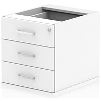 Trexus Fixed 3 Drawer Pedestal, White