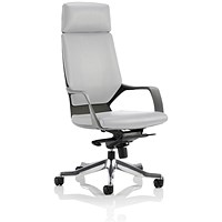 Adroit Xenon Executive Chair, Leather, White on Black