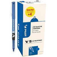 Pilot V5 Rollerball Pen, Liquid Ink, 0.5mm tip, Blue, Pack of 20