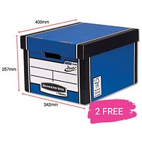 Fellowes Premium 725 Classic Bankers Box, Blue & White, Buy 10 Get 2 Free