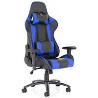 Trexus Ascari Leather Racing Chair, Blue and Black